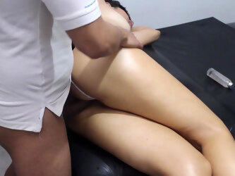 I fuck the masseur without a condom and he cums inside