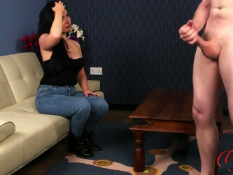 Horny guy strokes his penis while kinky Louise Walsh watches
