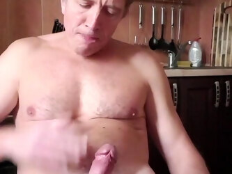 guy masturbates and swallows sperm