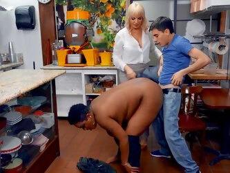 Erotic nude porn with a chubby ebony mom on a young dick