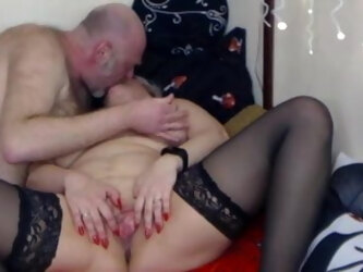 Mature bitch twists nipples and fucks in all holes in private