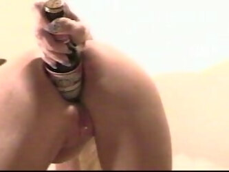 Anal Chic Beer Bottle In Ass