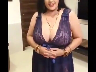 Kanchan Aunty With Sexy Purple Nighty