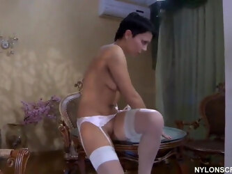 Russian Viola in stockings and heels fucked.