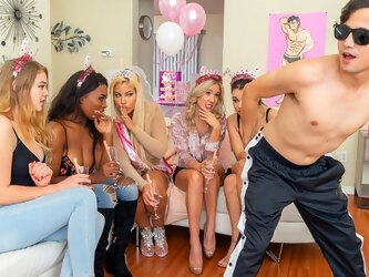 Moms at the party have fun in the company of a young stripper...