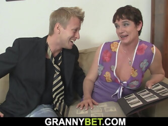 60 year old granny in stockings rides his big dick