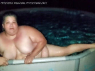 Beautiful Fat Mom Relaxing In A Pool