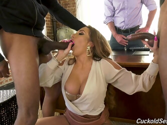 Top woman handles the heavy BBCs in front of her hubby