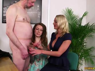 Mature boss gets his dick stroked and sucked by Ava and Chelsey