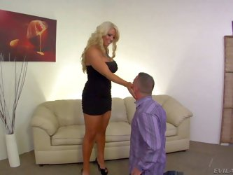 Attractive mature curvy blonde milf with huge big knockers and huge juicy ass in tight black dress and high heels gets furious enjoys dominating over