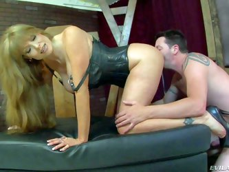 Darla Crane's male slave Jack Vegas is naked and ready to obey. Leggy long haired milf with big boobs bends over and makes him lick her asshole.