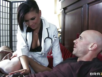 The patient is impressed with the sexy hot doctor's care and praises her so much. He asks her to take all the money kept in drawer. She wants to