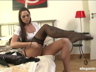 Charming model Simony Diamond dresses up to be fucked by a black stud
