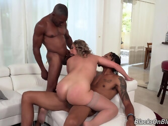 Hardcore interracial MMF threesome with busty model Kayley Gunner