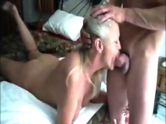Horny blonde wife suck dick and drink cum