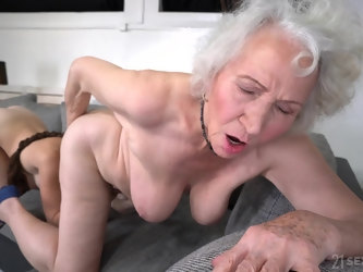 Busty pornstar Tiffany Doll in lesbo scene with granny Norma B