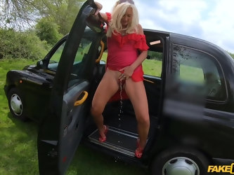 Vaginal and anal drilling in the taxi with ripe fruit Mature British Ellen