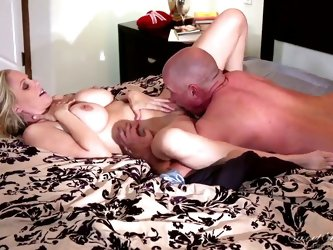 Julia Ann is laying in her bed and James Deen is seducing her for some hot fuck before sleep, he licks her pussy sucks tiny nipples and fucks her hard