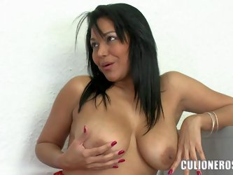 Naturally busty milf Valeria dildos her wet experienced pussy and sucks real cock in this hot video. This latina mom in sexy red dress is horny and pl