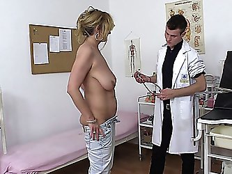 mature lady with a full bush and saggy tits gets doctors treatment