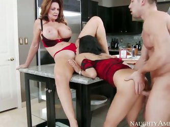 Cute slender hottie and her heavy chested mother Deauxma and Gulliana Alexis seduce confused Johnny Castle with perfect firm body and fuck with him li
