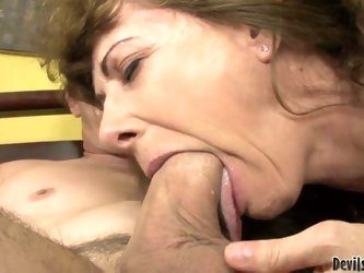 Lusty cock hungry experienced brunette wife Alexandra Silk with big tits and great looking body gives head to her horny hubby Paul Carrigan and rides
