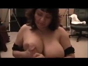 Horny bbw milf giving blowjob and get cum on tits