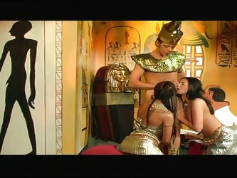 Two sensual slutty bitches are just craving for the pharaoh's juicy cock. The exciting scenes are spiced up with a dream blowjob, crazy rimjob &a