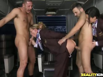 There are just two passengers and two hot stewardesses for them. Veronica Avluv and Tanya Tate gets fucked by naked guy with their uniform on, They lo
