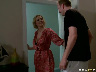 Julia Ann is annoyed by the noise she hears from the next-door apartment. She slams through the neighbor's door and gets herself in the middle of
