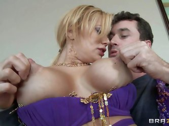 Blonde milf Shyla Styles is a belly dancing teacher with outstanding huge tits. James Deen finds her sexy and pulls out his heavy dick to fuck her hot