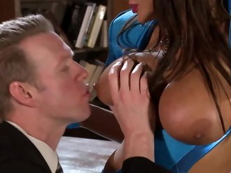 Busty brunette milf Lisa Ann in black gloves gets her sexy huge melons eaten and touched by elegant gent before she gets down on her knees to give him
