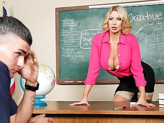 Is it all in Clover's head, or is his teacher Ms. Leigh Darby trying to seduce him? Poor guy didn't have a chance in hell of focusing on the