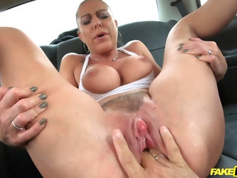 Horny Marcus London spreads her long legs to be fucked in the car
