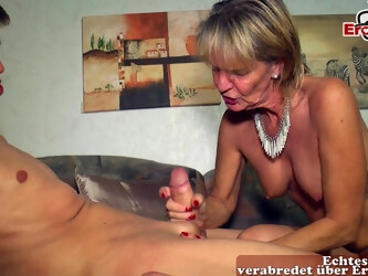 german skinny mature wife seduced younger guy with saggy tits