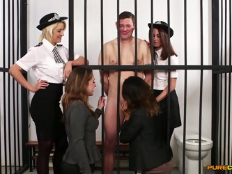 Prisoner with a large cock enjoys getting blowjobs by 4 babes