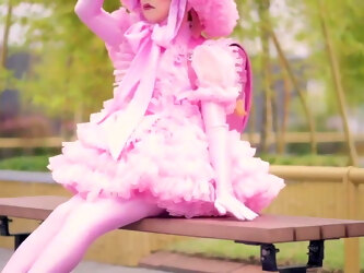 Cute pink frilly sissy being super brave in public