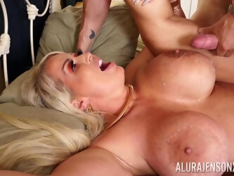 Hardcore fucking on the sofa with busty blonde mature Alura Jenson