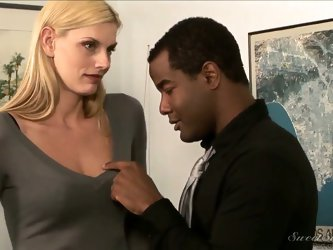 In this reality style scene seductive pornstar Darryl Hanah plays a shy secretary who gets talked by her black boss into some hardcore fun right at th