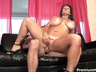Cock hungry mature brunette whore Anita Cannibal with juicy ass and tanlines in high heels only rides on young handsome stud and gets her enormus knoc