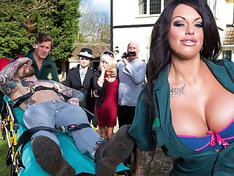 Kerry Louise is a busty EMT whose big tits have been getting her into trouble for her entire career. So when Dean Van Damme zips his big dick into his