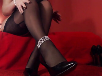 My graceful legs in hose and high heels.
