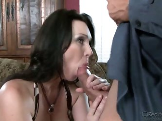 Smoking hot busty brunette mom with perfect big round natural boobs gets her tight wet hairy pussy licked hard while she moans in pleasure and then gi
