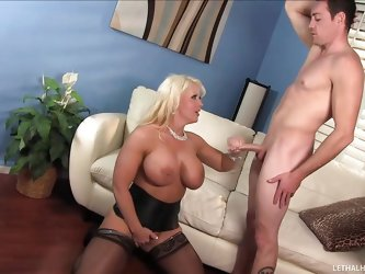 This momma is such a slut. She sees her son's hot friend and invites him over, for some kinky action. She pulls his cock out and gives it a good