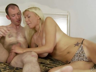 Sex obsessed milf Carolina Monroe enjoys hard dick. Topless woman gives blowjob to lucky man before she removes her panties. She opens her legs and he
