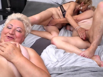 Three Matue Ladies Share One Naught Toy Boy For Their Deviant Sexgames - MatureNL