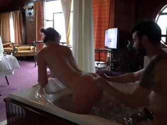 Russian Mature has Sex In Hotel Jacuzzi With Young Bearded Guy