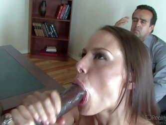This cuckold scene features McKenzie Lee. She's a good looking wife with huge boobs who loves big black dick. Passionate lady gives head with cho