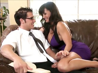 Very horny Chris Johnnson encounters hot plump breasted milf Lisa Ann and they start making out in a very passionate and quite arousing way.
