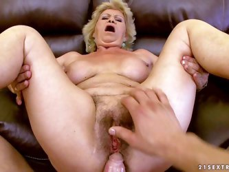 Dirty granny Effie parts her legs and gets her hairy cunt fucked by stiff young cock from your point of view. He drills her mature bush and then fucks
